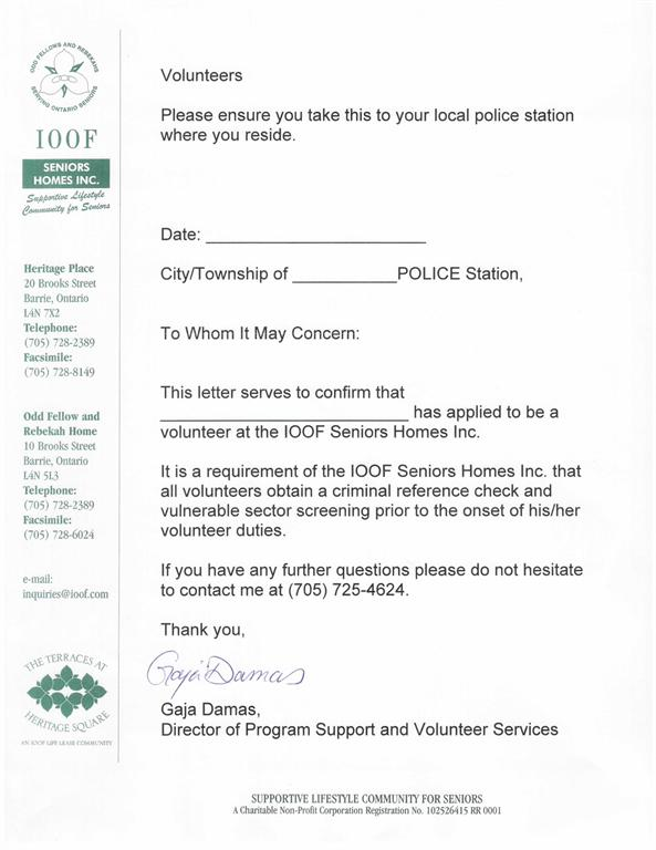 Ioof seniors homes volunteer services join us please take the attached request for volunteer criminal reference check letter spiritdancerdesigns Choice Image